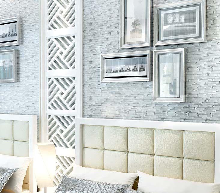 glass mosaic tile plated crystal backsplash bedrom wall diamond