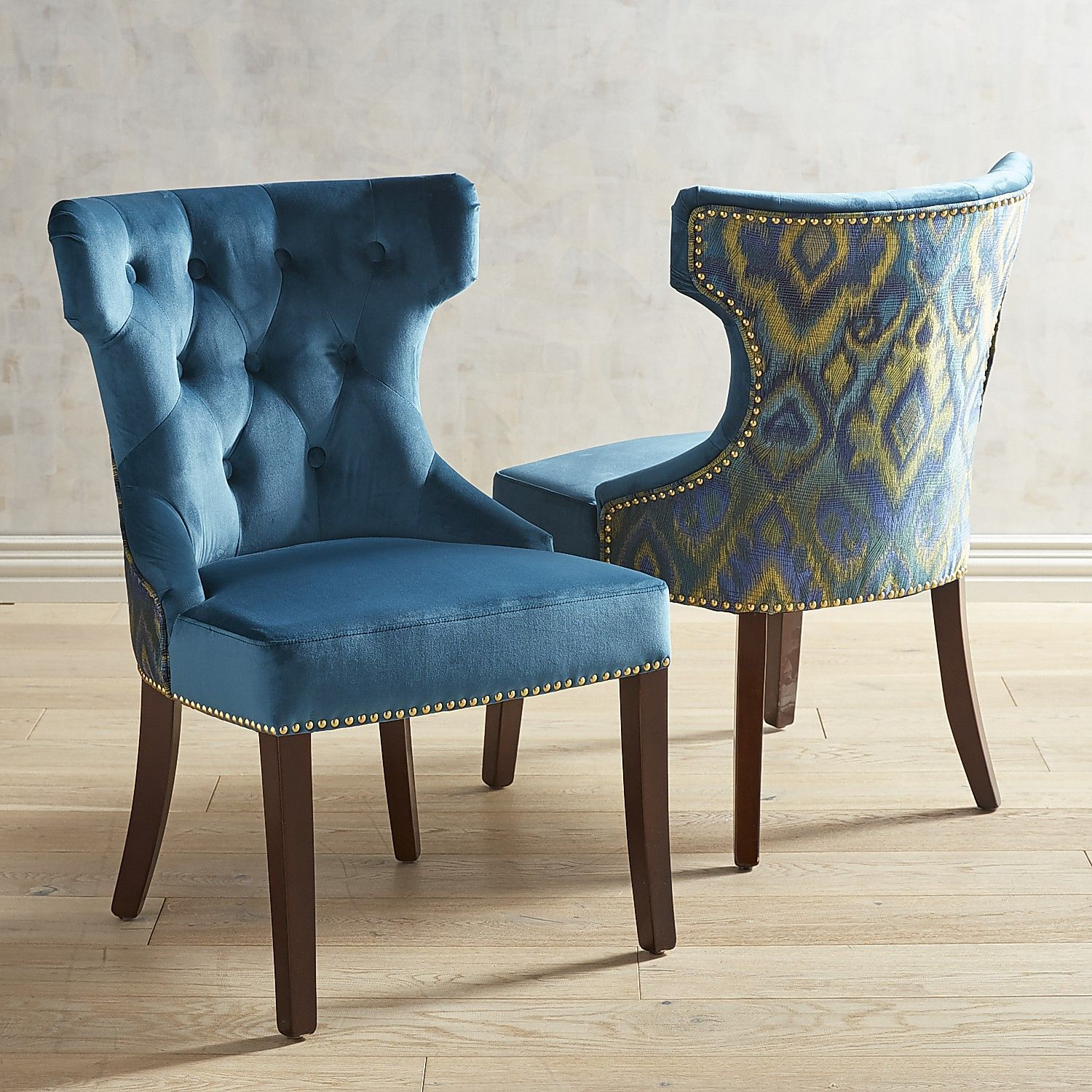 Hourglass plume teal dining chair with espresso wood
