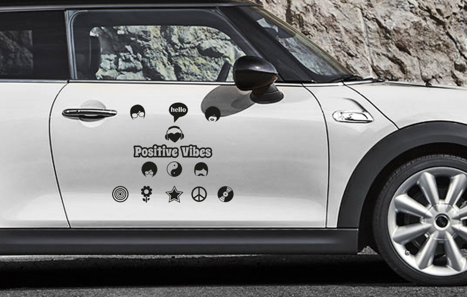 Positive Vibes Decal, Peace, Love, Hippy, Car Sticker, Wall Decal, Home Decor by ArtJig on Etsy