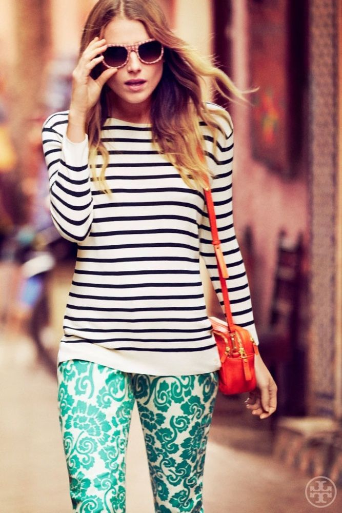 Print Mixing At Its Finest Striped Top Teal Flocked Pants Tres Chic