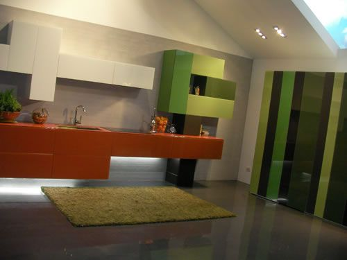 Une cuisine ultra moderne composée de formes géométriques et de ...