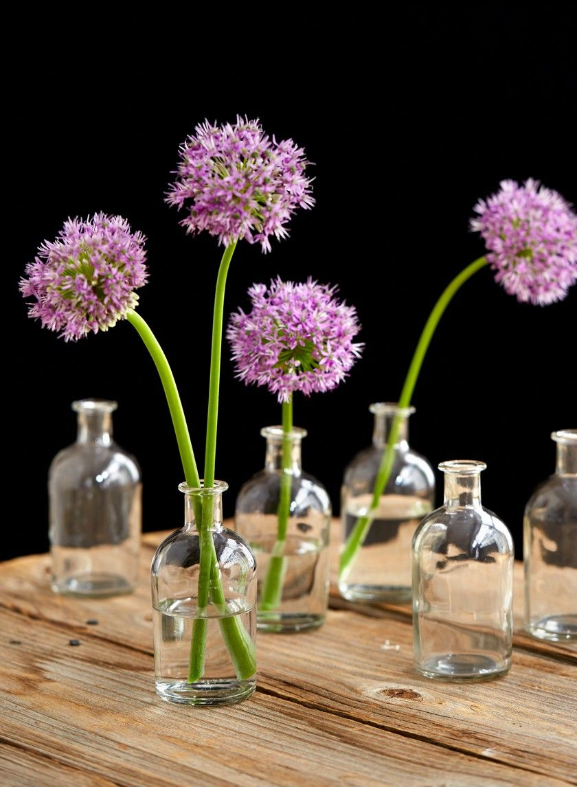 Bottle Vase Centerpiece : Clear medicine bottle bud vase set of centerpieces