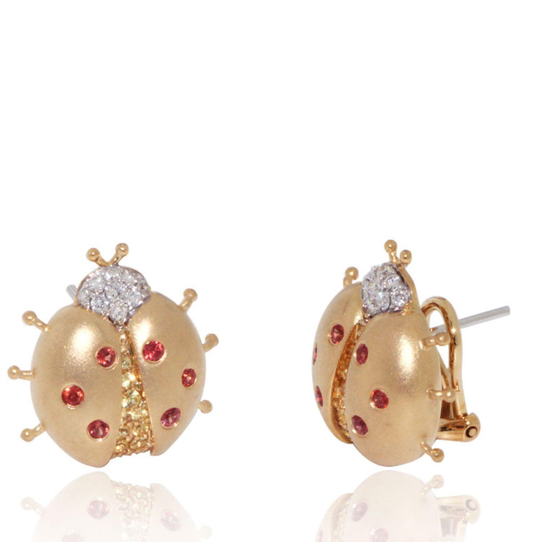 Lady Bug Earrings in Diamonds & Orange & Yellow Sapphires