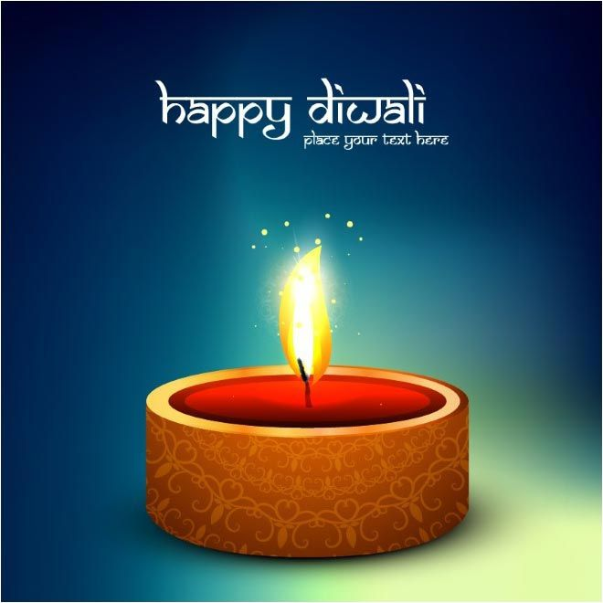 Happy Diwali Hindi Style Typography With Oil Lamp On