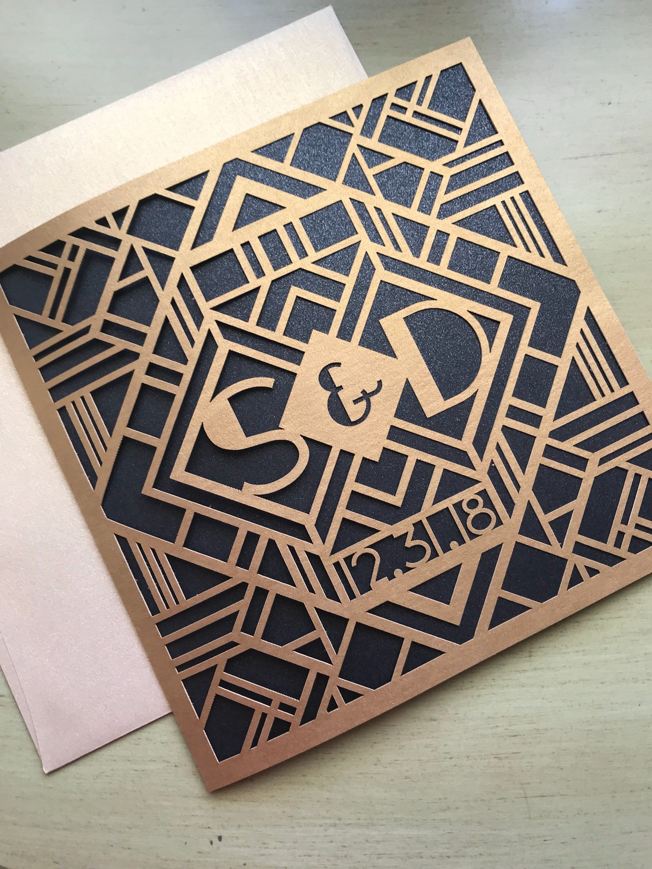 Laser Cut Wedding Invitations Monogram Art Deco Gatsby Invitations