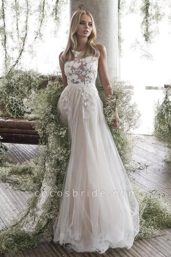 Floor Length Appliques Tulle A Line Wedding Dress A Line Wedding Dress Long Sleeve Wedding Dress Lace Wedding Dresses Australia