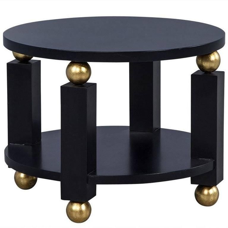 Round Art Deco Black And Gold End Table   From A Unique Collection Of  Antique And Modern Side Tables At Https://www.1stdibs.com/furniture/tables /side Tables ...