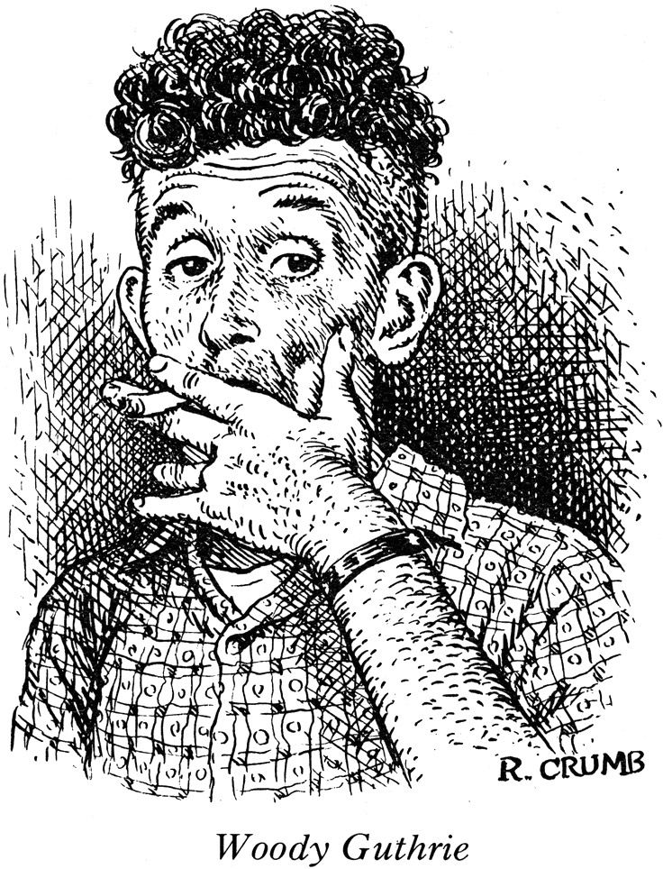 woody guthrie by r crumb