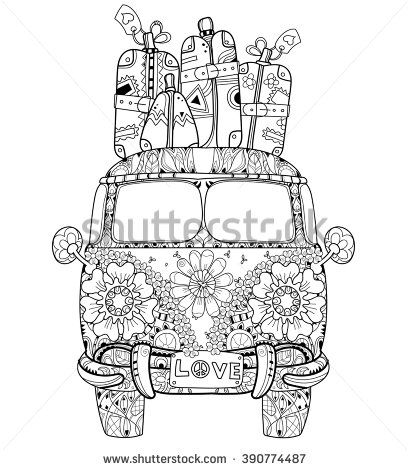 Hand Drawn Doodle Outline Retro Bus Travel Decorated With