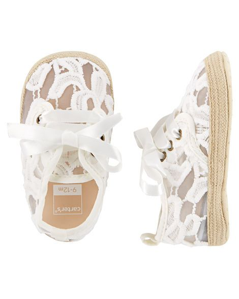 8fab90e743f68 Shop Lace Espadrille Crib Shoes at CartersOshkosh.ca. Visit Carters Oshkosh  Canada for quality baby
