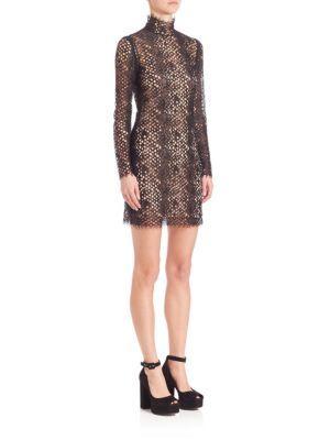 ALEXANDER WANG Turtleneck Long-Sleeve Mini Dress. #alexanderwang #cloth #dress
