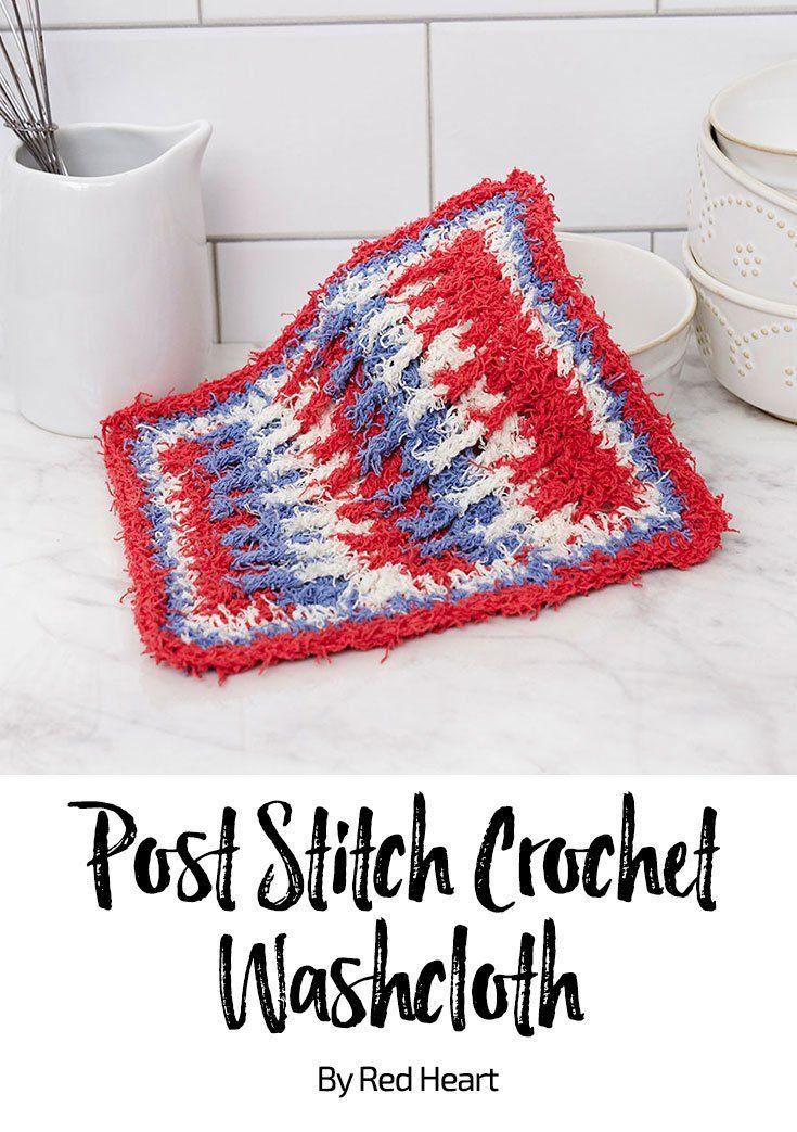 Post Stitch Crochet Washcloth Free Crochet Pattern In Scrubby Cotton
