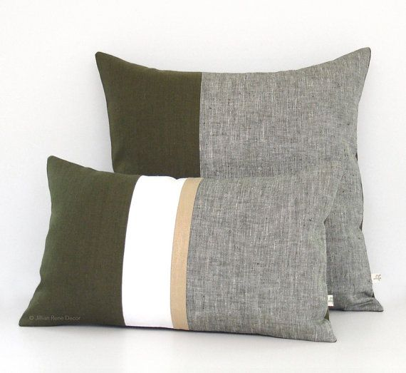 Olive Green Chambray Pillow Cover (Set of 2) 12x20 Gold Stripe and 20x20 Colorblock, Modern Home Decor by JillianReneDecor - Cypress Pillows