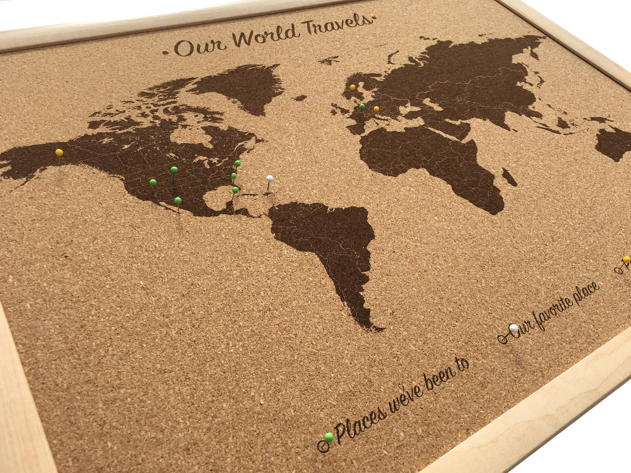 Cork board ideas for your home and your home office cork boards push pin world map cork board map cork map includes 100 map pins wood anniversary gift idea anniversary family travel cork map sciox Images