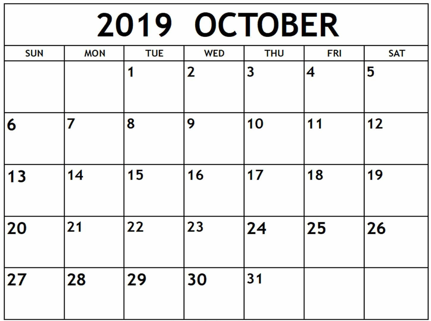 Fillable Calendar For October 2019 Free Printable Calendar