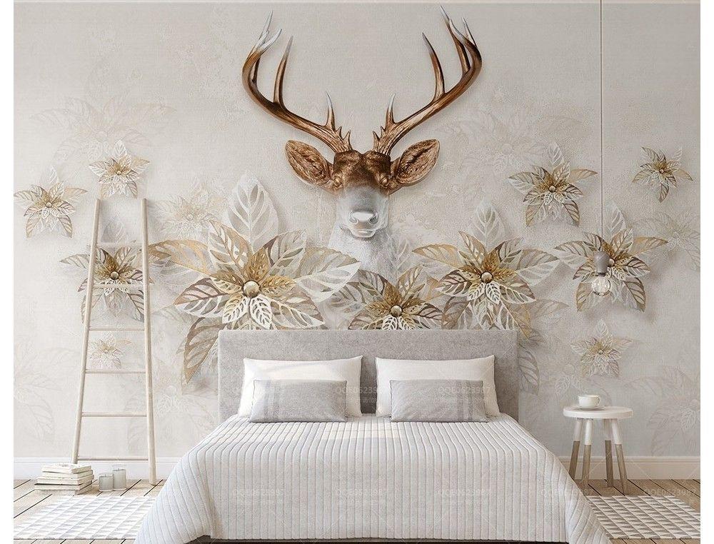 Gold Petal Floral With Horned Deer Wallpaper Mural Mural Wallpaper Wall Murals Home Wallpaper