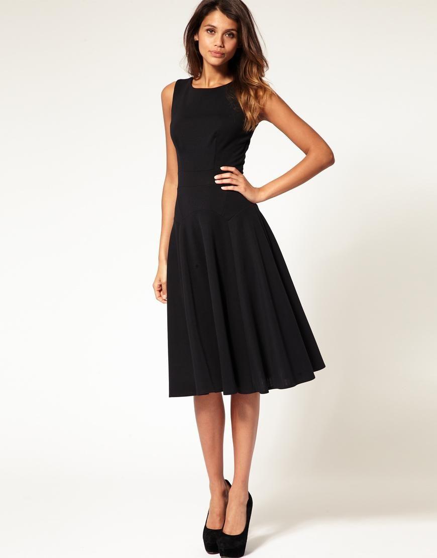 Black dress asos - Asos Asos Midi Fit Flare Dress With Basqued Waist At Asos