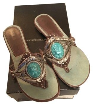 8f91dffad6de Giuseppe Zanotti Brown turquoise silver Sandals on Sale