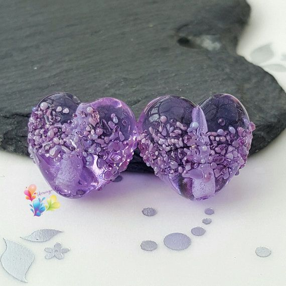Lampwork Beads Purple Blossom Heart per by GlitteringprizeGlass  Lavender Blossom Hearts now available in a shiny finish!  Trudi   #glitteringprizeglass #lampwork #purple #hearts #lavender #handmade #jewelrydesign #jewellerydesign
