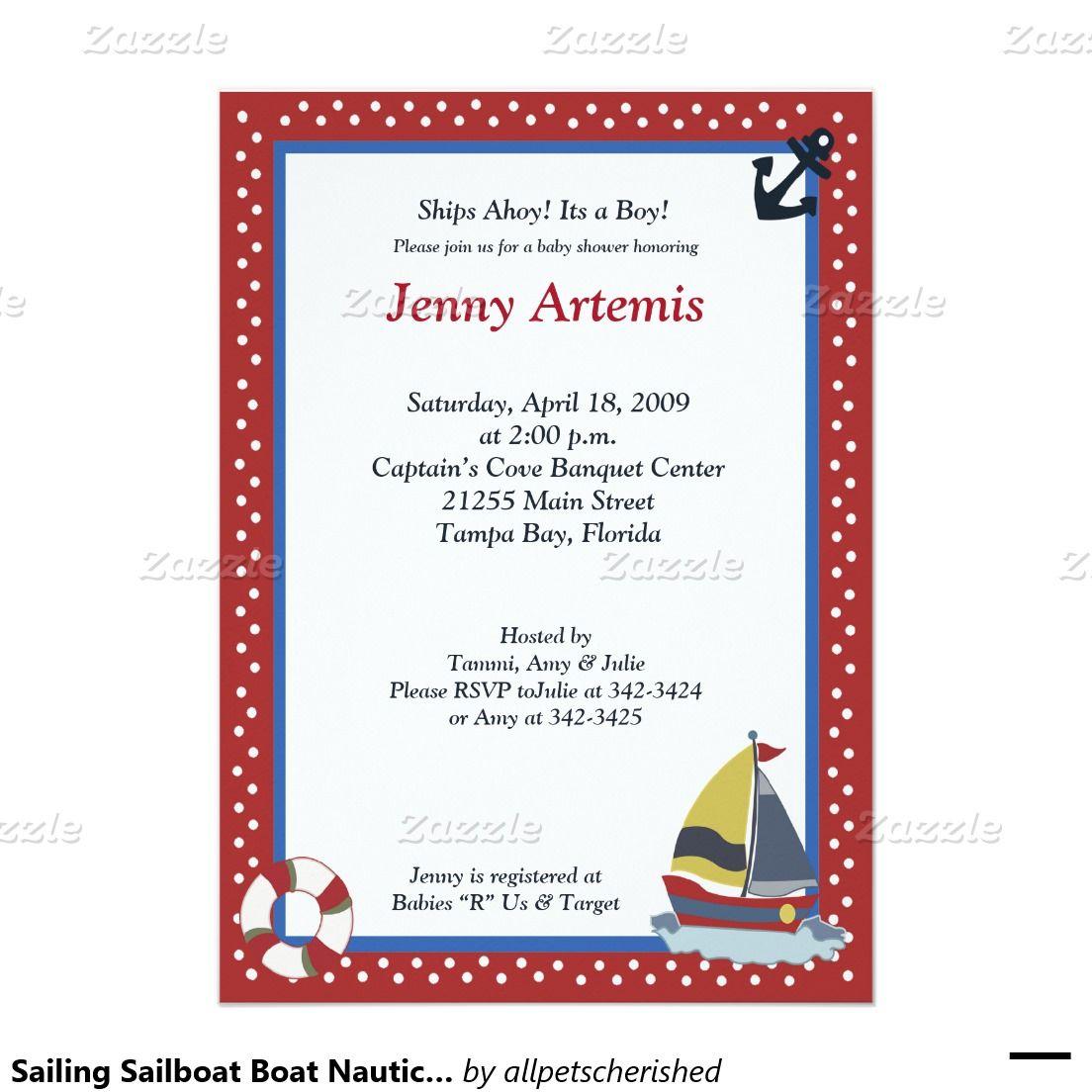 Sailing Sailboat Boat Nautical Baby Shower 5x7 5x7 Paper Invitation Card