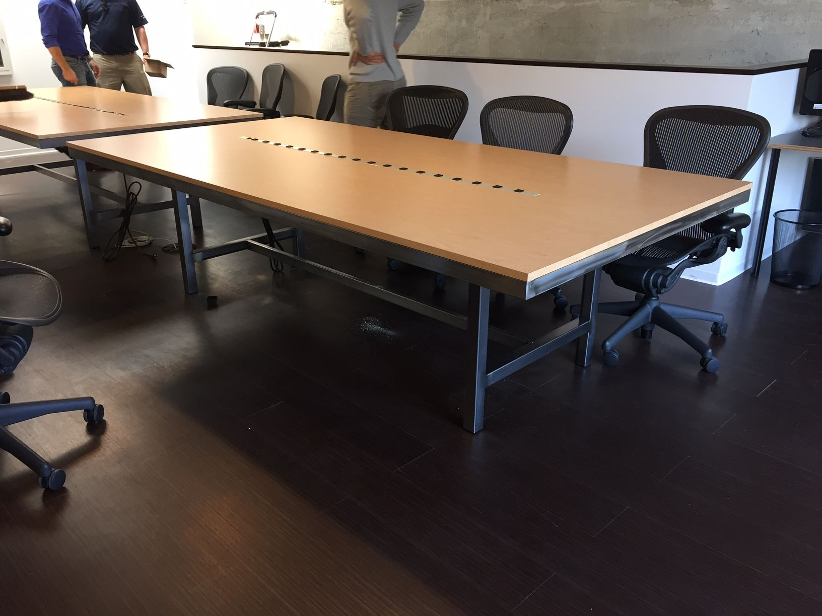 Pasadena CA Conference Table with steel and maple Formica Top