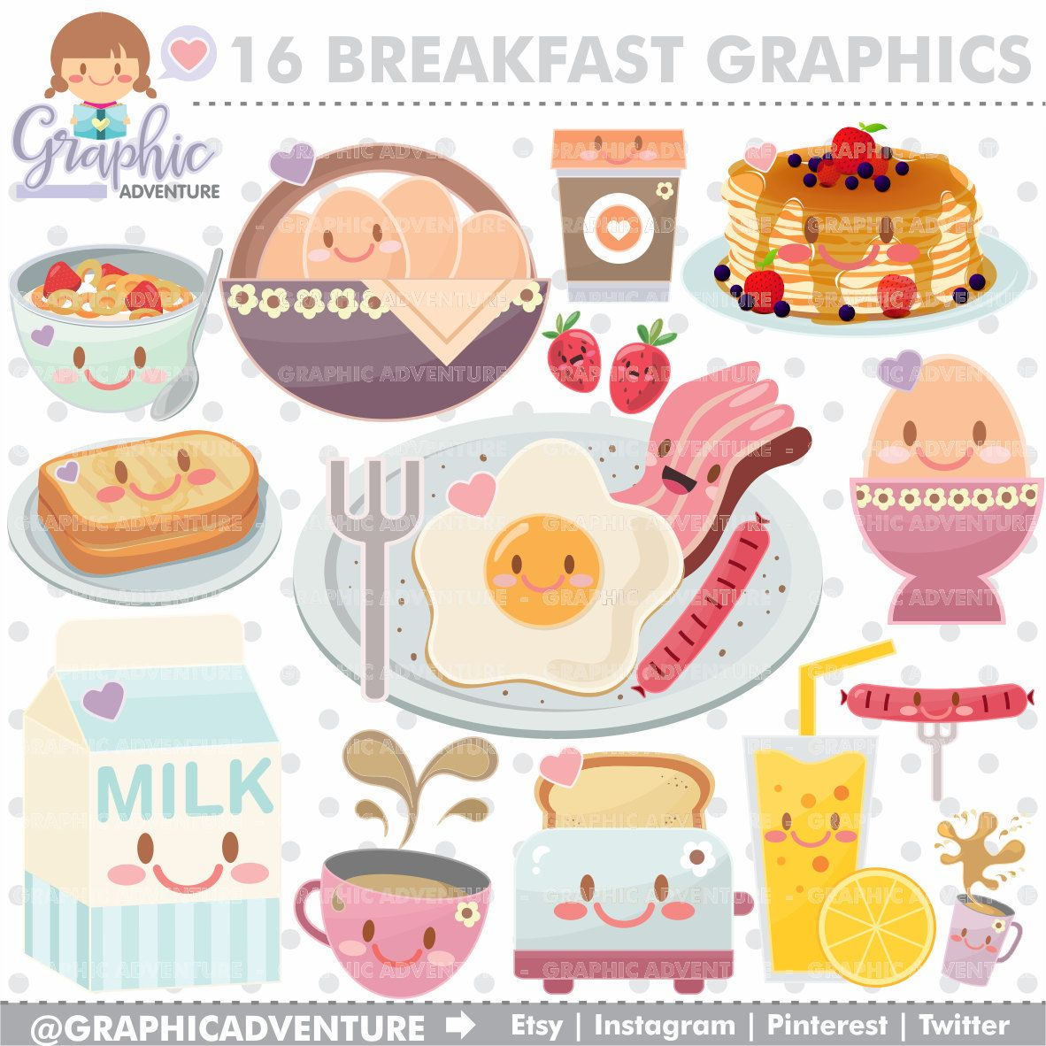 Breakfast Clipart Breakfast Graphics MERCIAL USE Kawaii