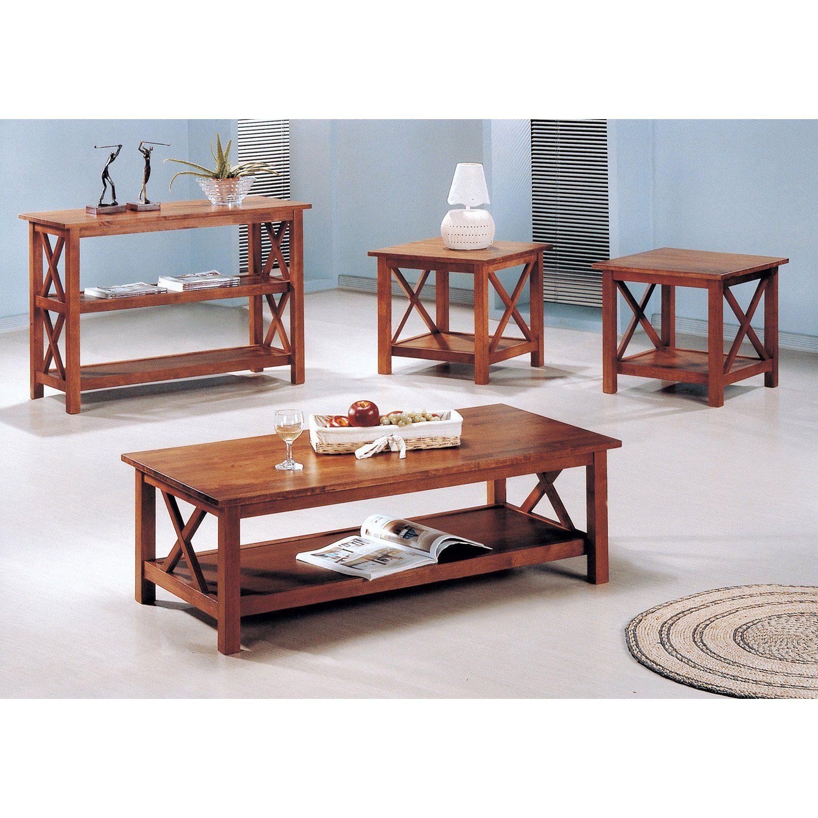 Coaster Furniture 3 Piece Coffee Table Set Medium Brown 5907