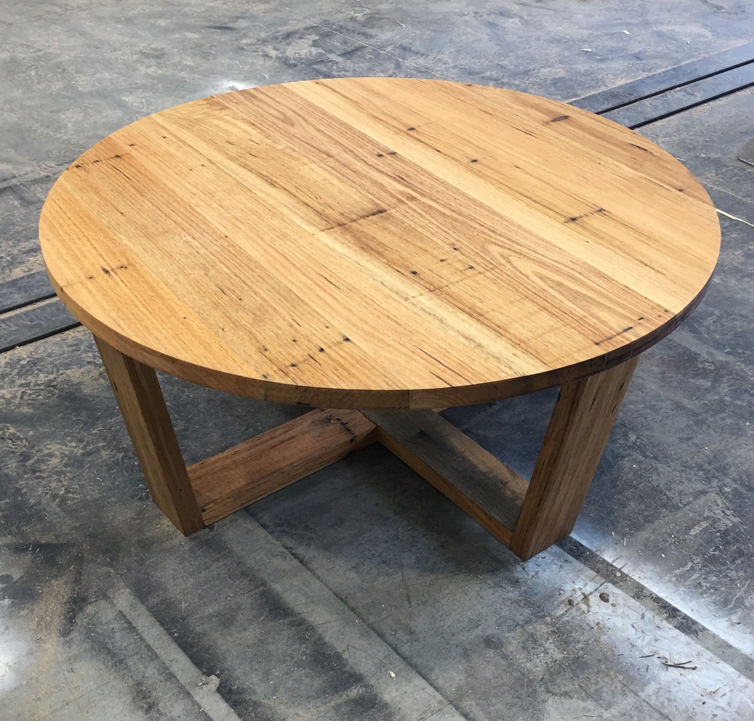 recycled wormy chestnut round coffee table reclaimed furniture