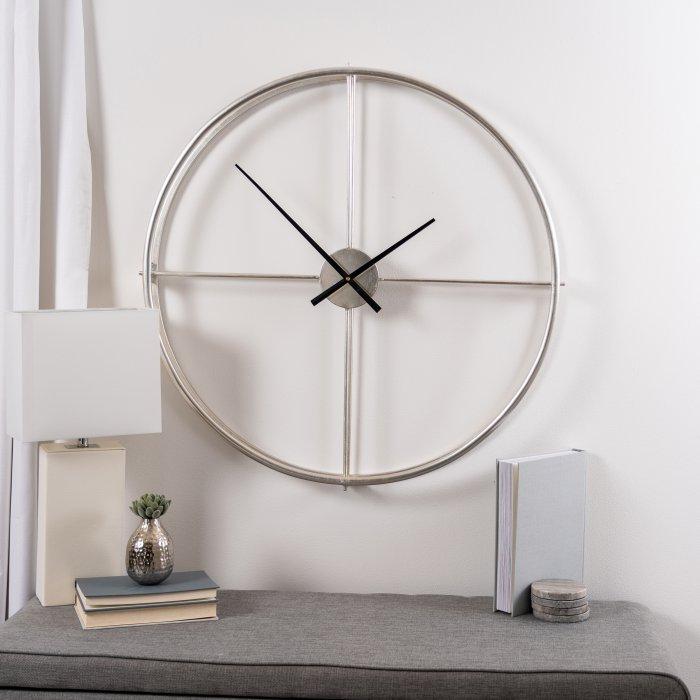 Cooper Classics Stephenson Oversized 32 In Wall Clock Hayneedle Large Metal Silver Black