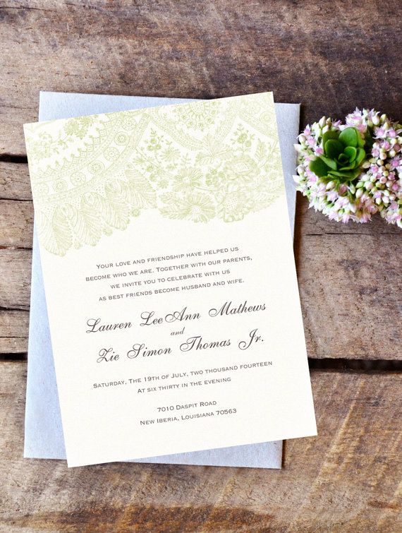 Irish Country Wedding Invitations Rustic Green Lace Invites Cottage Farmhouse By BrossieBelle