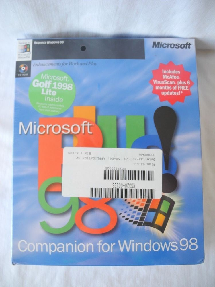 Microsoft Plus 98 Companion for Windows 98 CD ROM New and Sealed