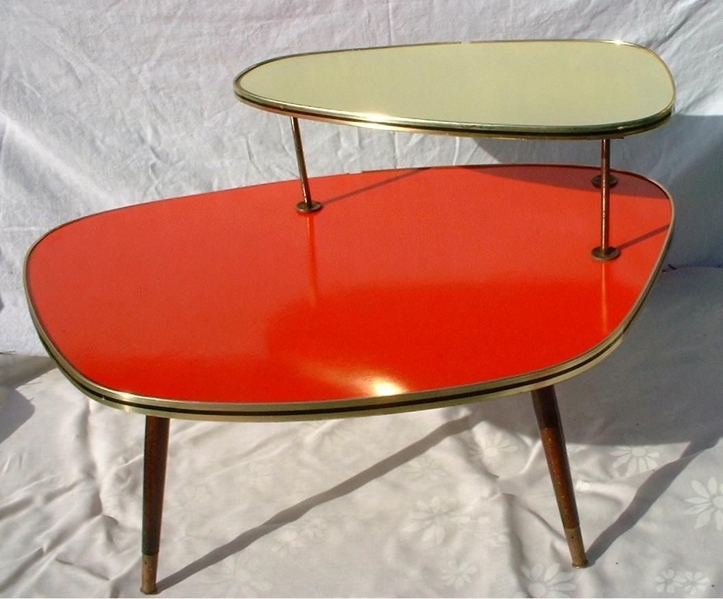 Orange and gold coffee table mid century