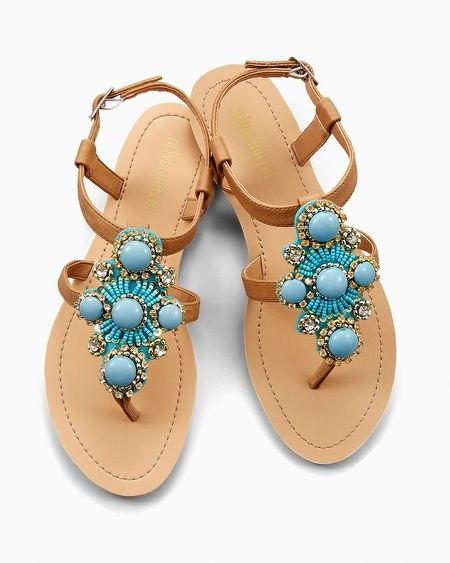 dc4149b9c5584 Olivia Miller Turquoise Stone Flat Sandals