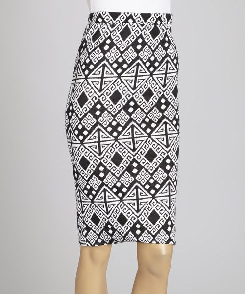 35e0e214f4 Take a look at this Black & White Greek Key Midi Skirt I bought at zulily  today!