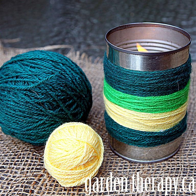 Yarn Bombing Citronella Candles - wrap the cans so they aren't hot to the touch when you move them.
