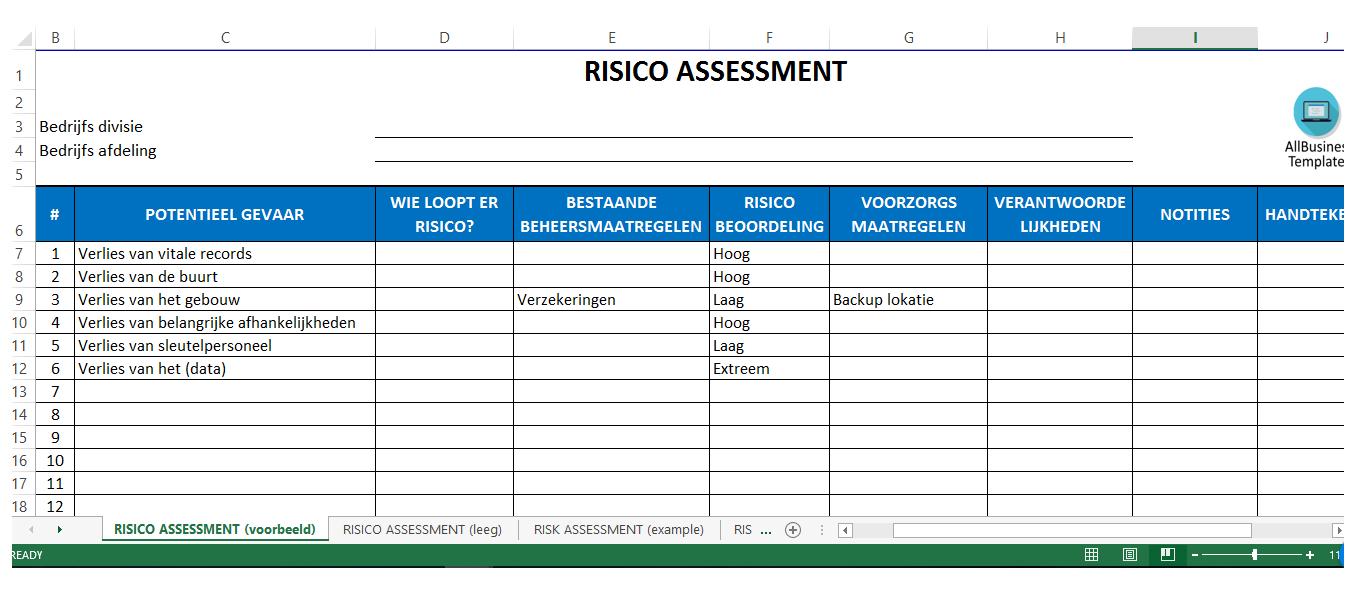 Risico Beoordelings Matrix Excel Met Rag Status  Bent U Op Zoek