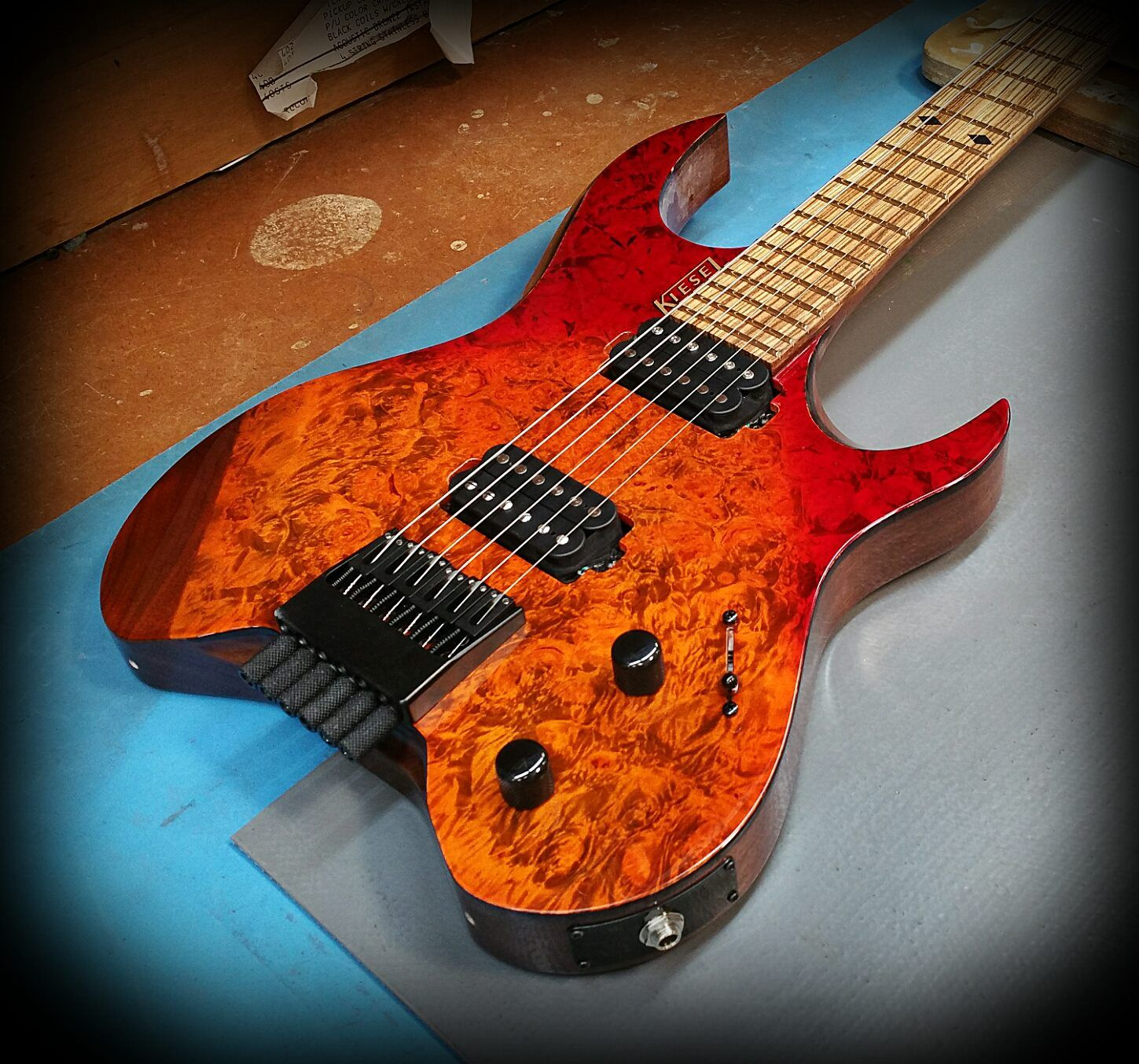 Kiesel Guitars Carvin Guitars V6 Vader headless series in a custom color v burst