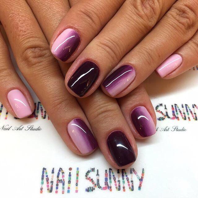 Nails. Pink. Violet. Gradient. Nail Sunny Nail Art Studio