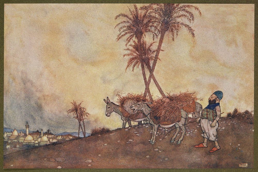 Ali Baba departed for the town a well satisfied man. (Edmund dulac)