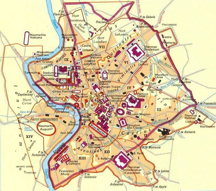 Map of Rome 350CE Ancient Rome