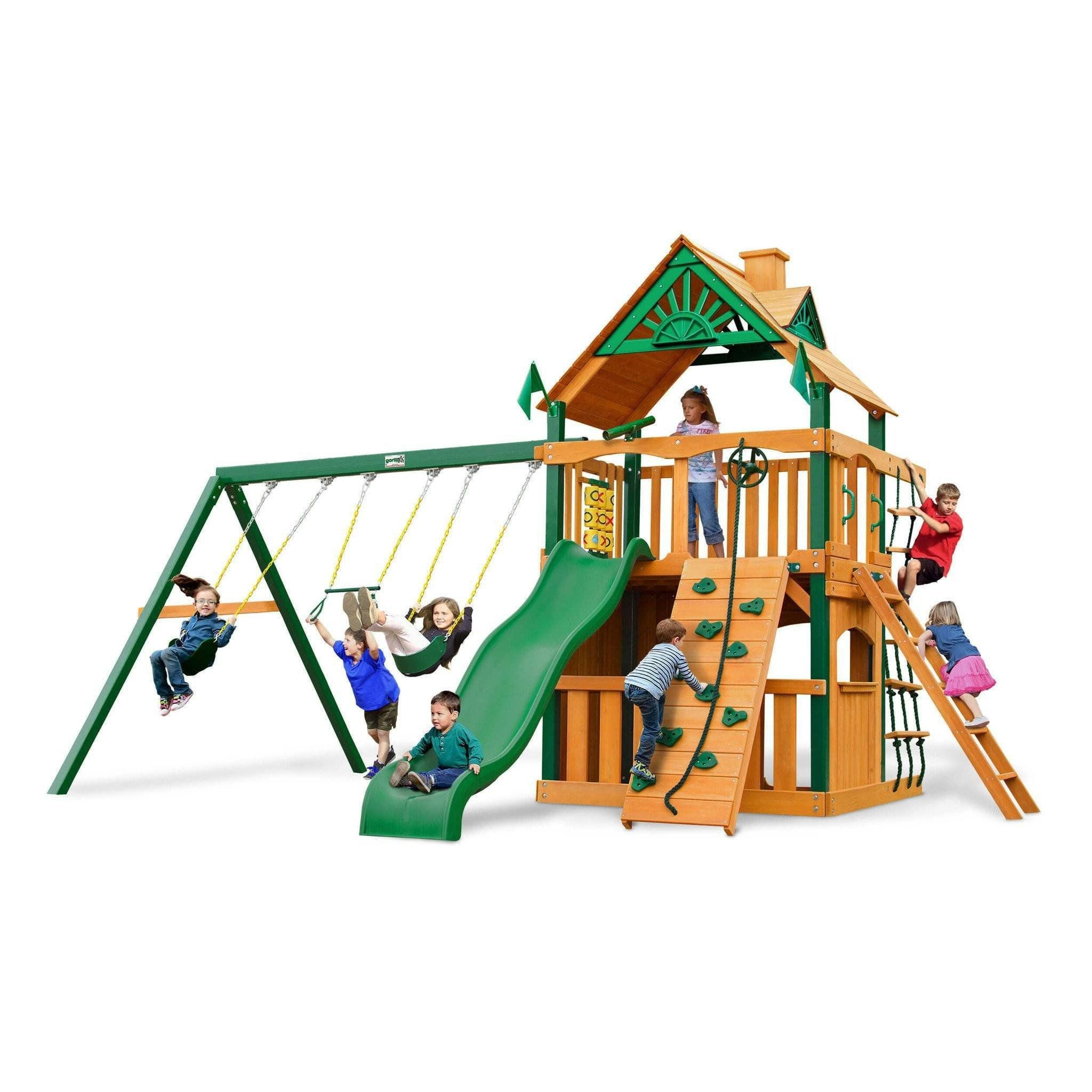 Chateau Clubhouse Swing Set Optional Treehouse and Fort Various