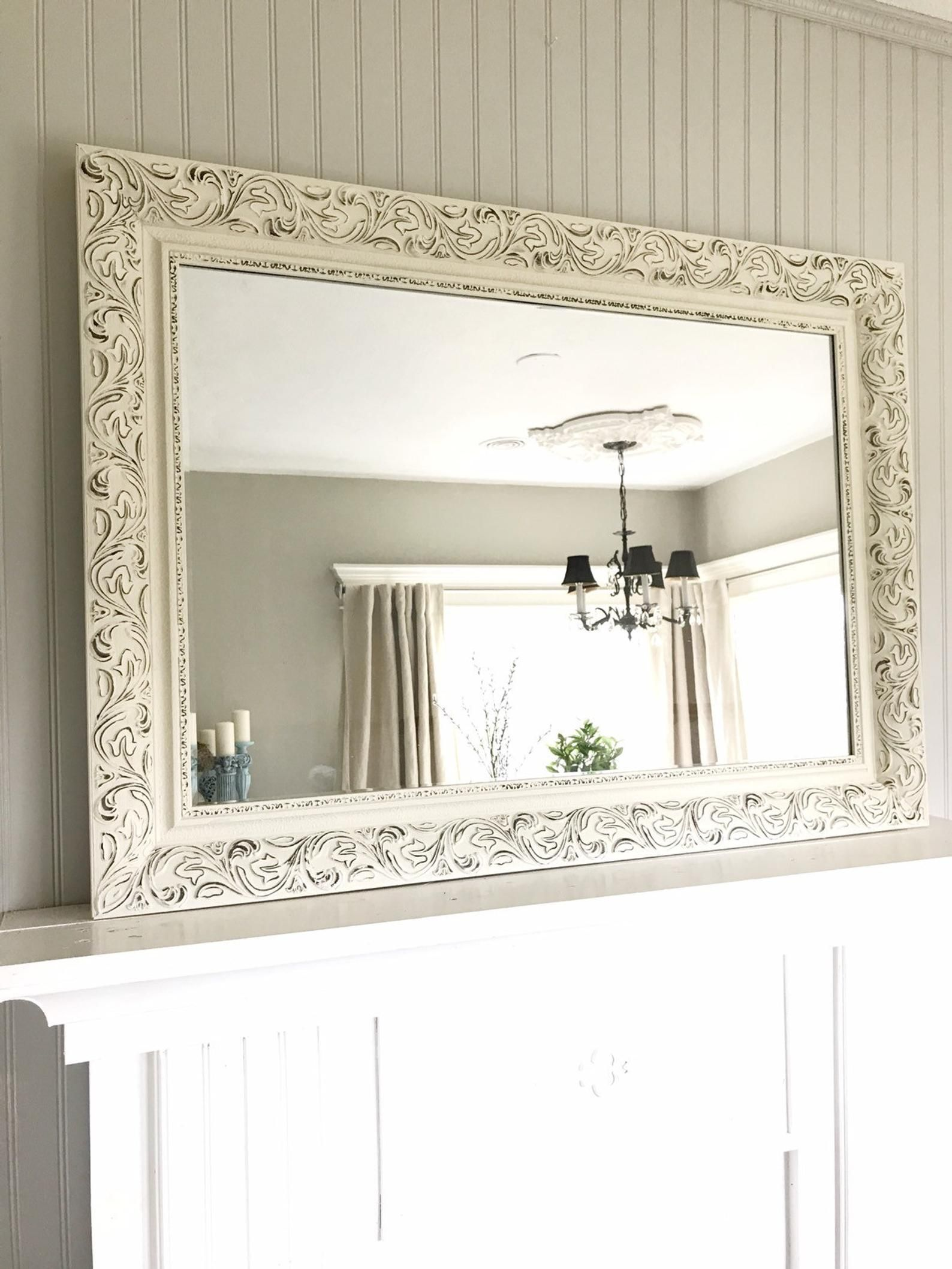 Cream And Black Bathroom Mirror Shabby Chic Style Farmhouse Etsy Shabby Chic Mirror Shabby Chic Bathroom Wood Framed Bathroom Mirrors