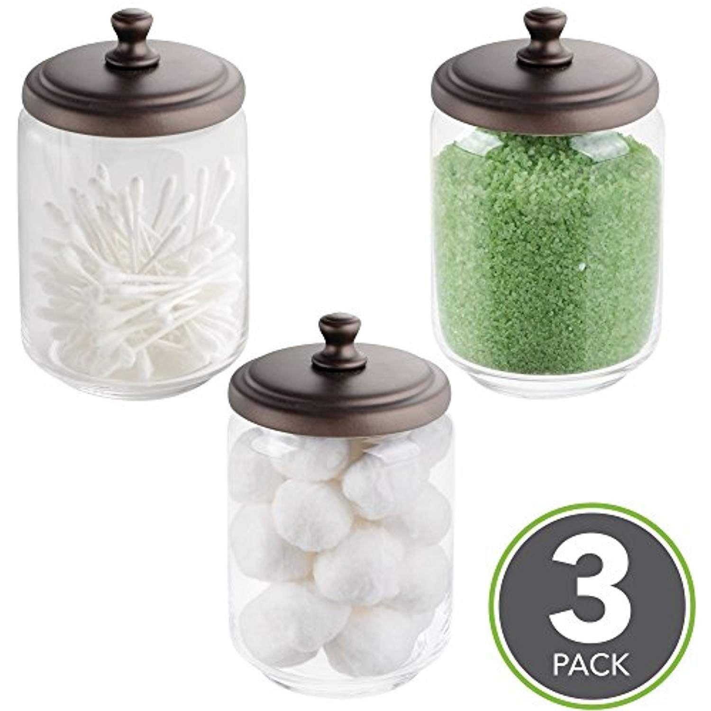 Mdesign Bathroom Vanity Storage Organizer Canister Jars For Q Tips
