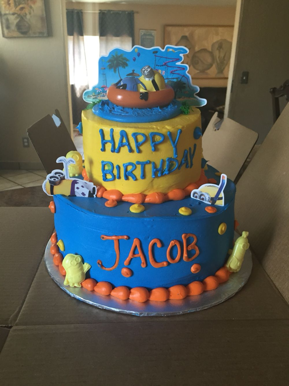 Minion birthday cake and I got it at Walmart Party Ideas