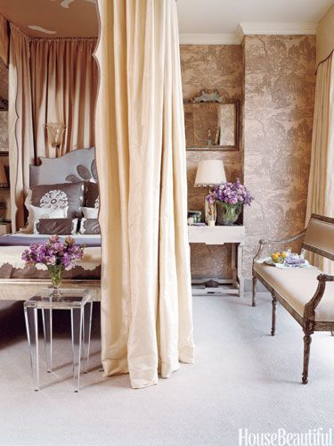 Elegant Bedroom--I love the curtains around the bed. I would love to do this!!!