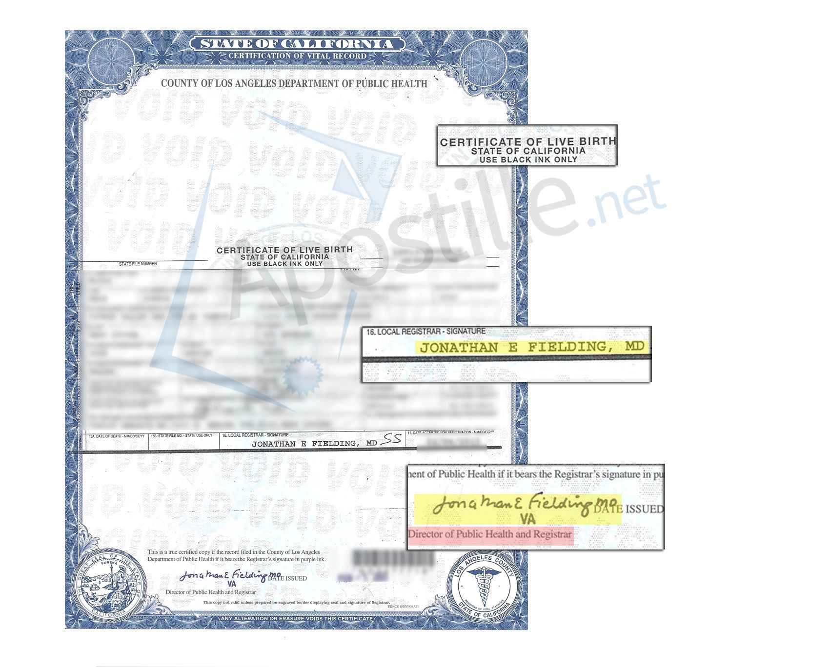 Los Angeles Certificate Of Live Birth signed by Jonathan E