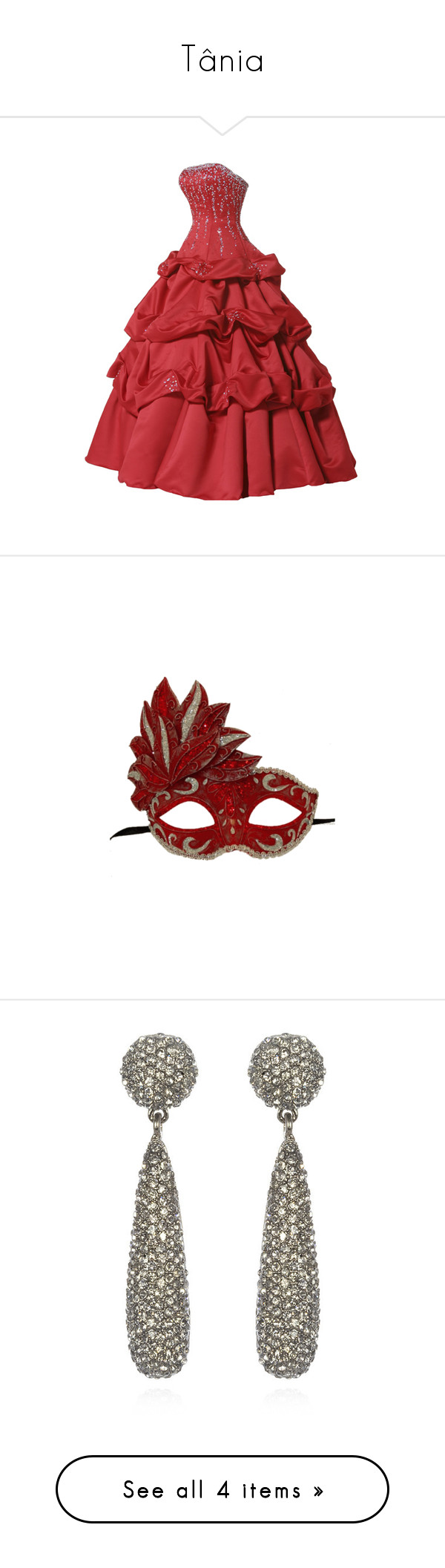 """""""Tânia"""" by priihcullen ❤ liked on Polyvore featuring dresses, gowns, vestidos, long dresses, red dress, red evening gowns, long red dress, long red evening dress, masks and accessories"""