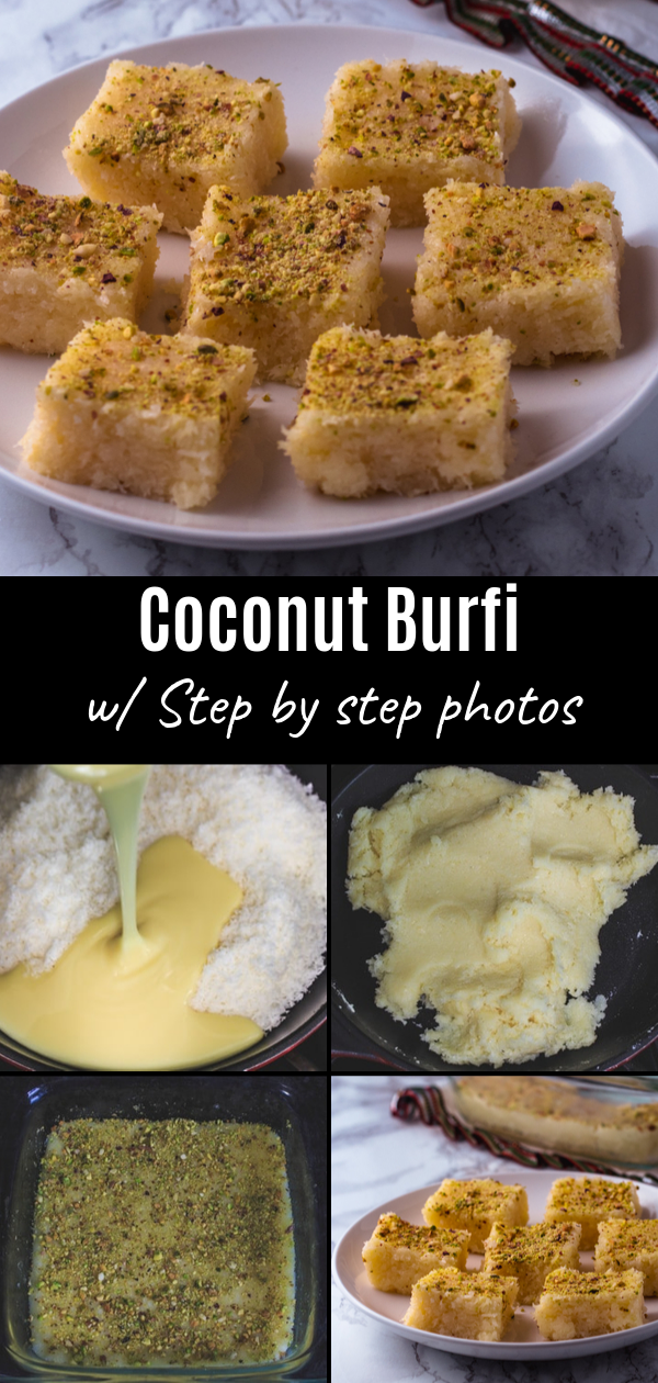 Coconut Burfi Recipe With Condensed Milk Spice Up The Curry Recipe Easy Dessert Recipes Quick Dessert Recipes Easy Coconut Barfi Recipe