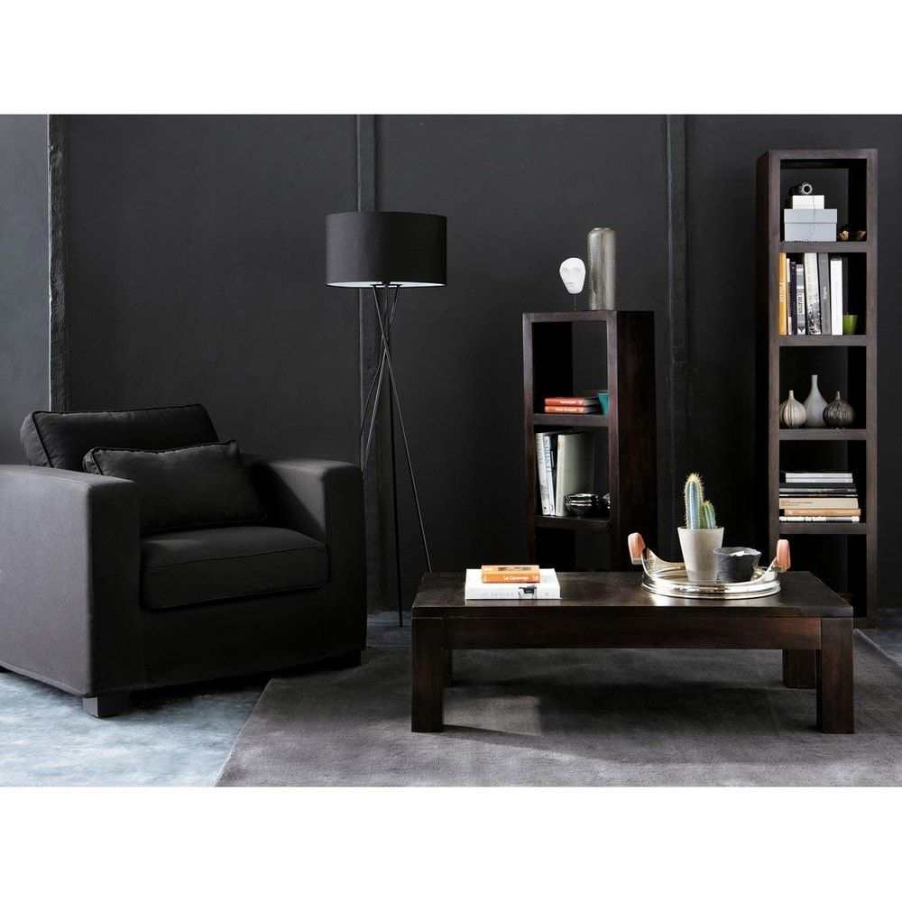 dreibeinige stehleuchte aus metall und baumwolle schwarz. Black Bedroom Furniture Sets. Home Design Ideas