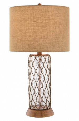 Clear Glass Table Lamp. A rustic burlap shade tops a ...